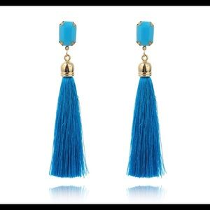 Jewelry - TURQUOISE or WHITE w/ GOLD LONG TASSEL DANGLE BOHO